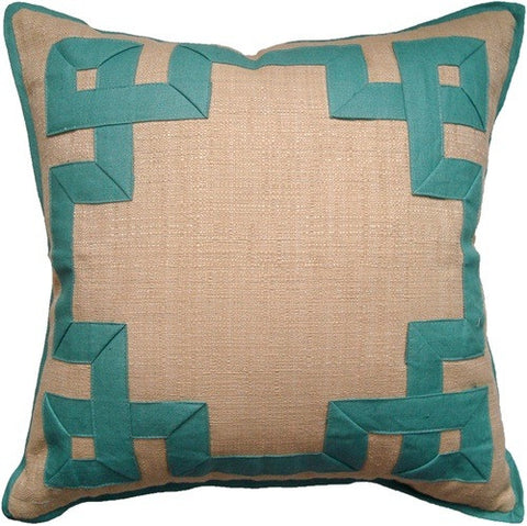 Aqua Raffia Fretwork Pillow