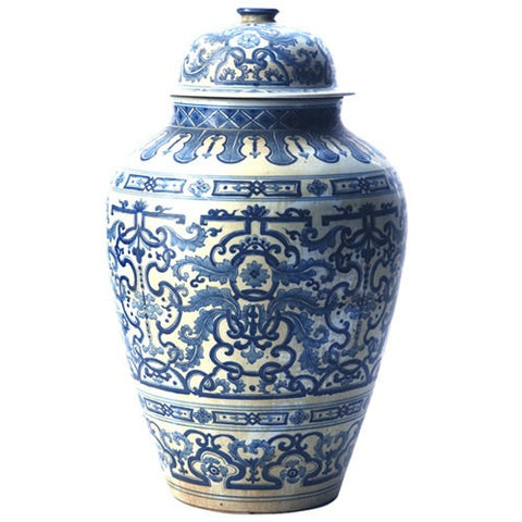 Blue & White Flora Temple Jar
