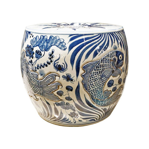 Blue & White Fish Drum Stool