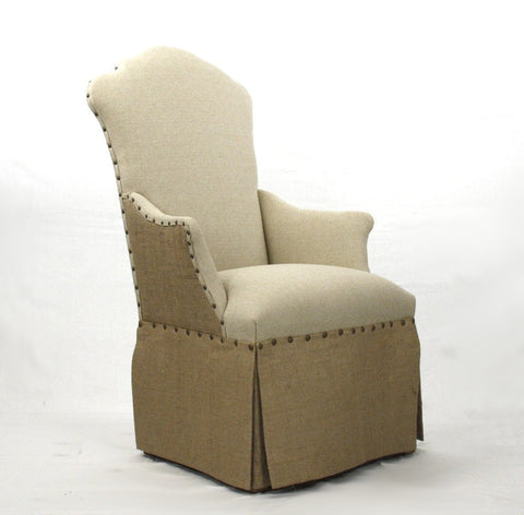 Burlap Skirted Arm Chair