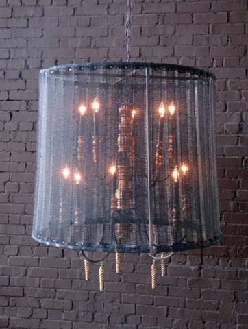 Chateau Chandelier with Jute Shade