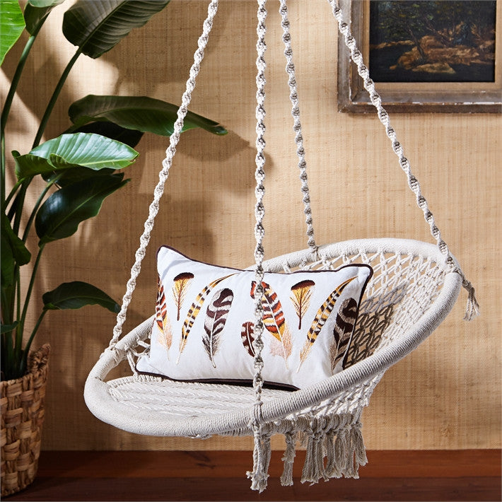 solid comfort indoor rope big handmade cotton macrame seat furniture hammock beige haning swing color chair