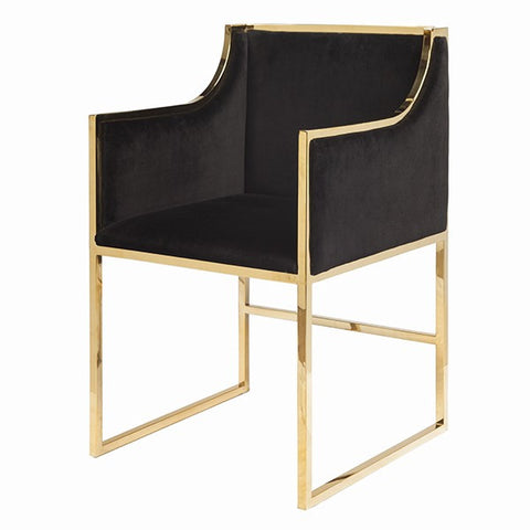 Anabelle Black Velvet Dining Chair
