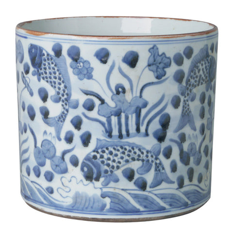 Blue & White Round Porcelain Fish Vase