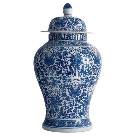 Blue & White Lotus Covered Temple Jar - Twos Company