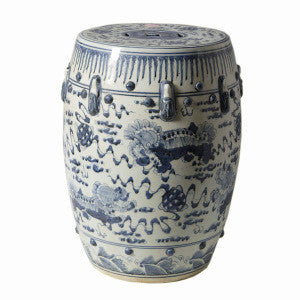 Blue & White Porcelain Garden Stool - Lion Motif