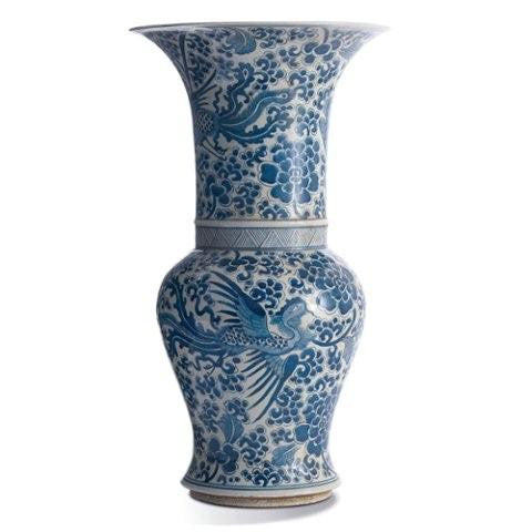Blue & White Phoenix Tall Flair Vase -Twos Compnay