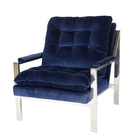 Cameron Velvet Chair - Nickel Frame