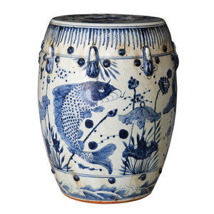 Blue & White Porcelain Garden Stool - Fish Motif