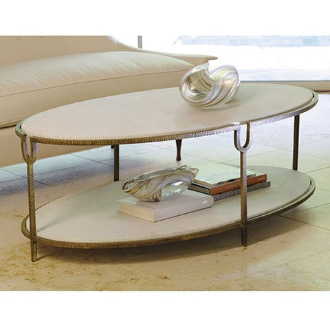Iron and Stone Marble Coffee Table