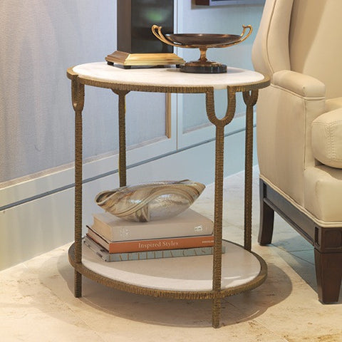 Iron and Stone Marble Side Table