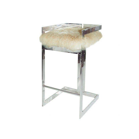 Hearst Bar Stool -Fur Seat Cushion