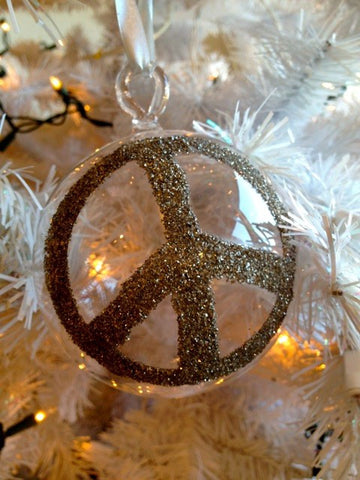 Holiday Ornament  - Glass Peace Sign