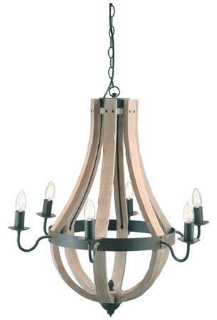Wood & Iron Barrel Chandelier