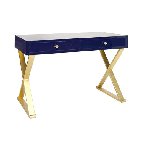 Jared Navy Lacquer Desk - Worlds Away