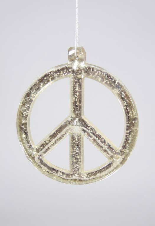 Holiday Ornament Peace Sign Mercury Glass Tonic Home