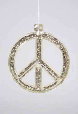 Holiday Ornament - Peace Sign Mercury Glass