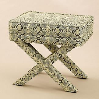 Faux Snake Skin Bench - Two's Company