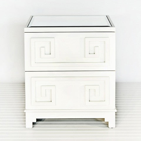 Pagoda White Side Table - Worlds Away