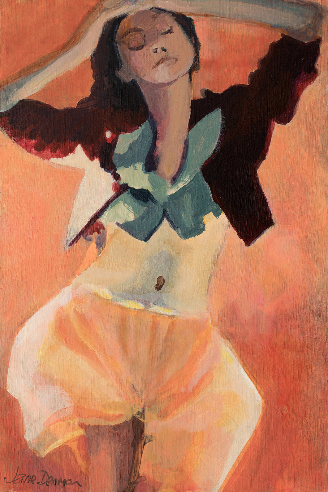 orange woman dancing painting on wooden postcard