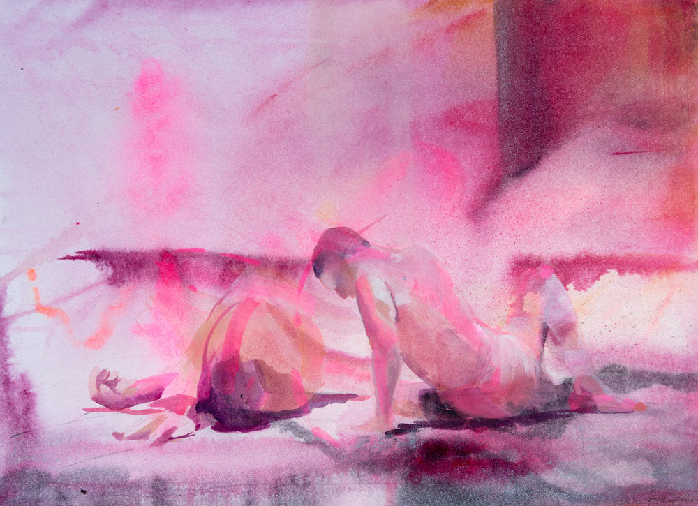 abstract figurative art pink and purple