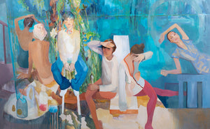 large colourful painting figurative art blue turquoise reds