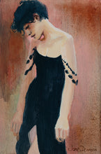 Load image into Gallery viewer, woman in black acrylic painting the singer