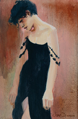 woman in black acrylic painting the singer