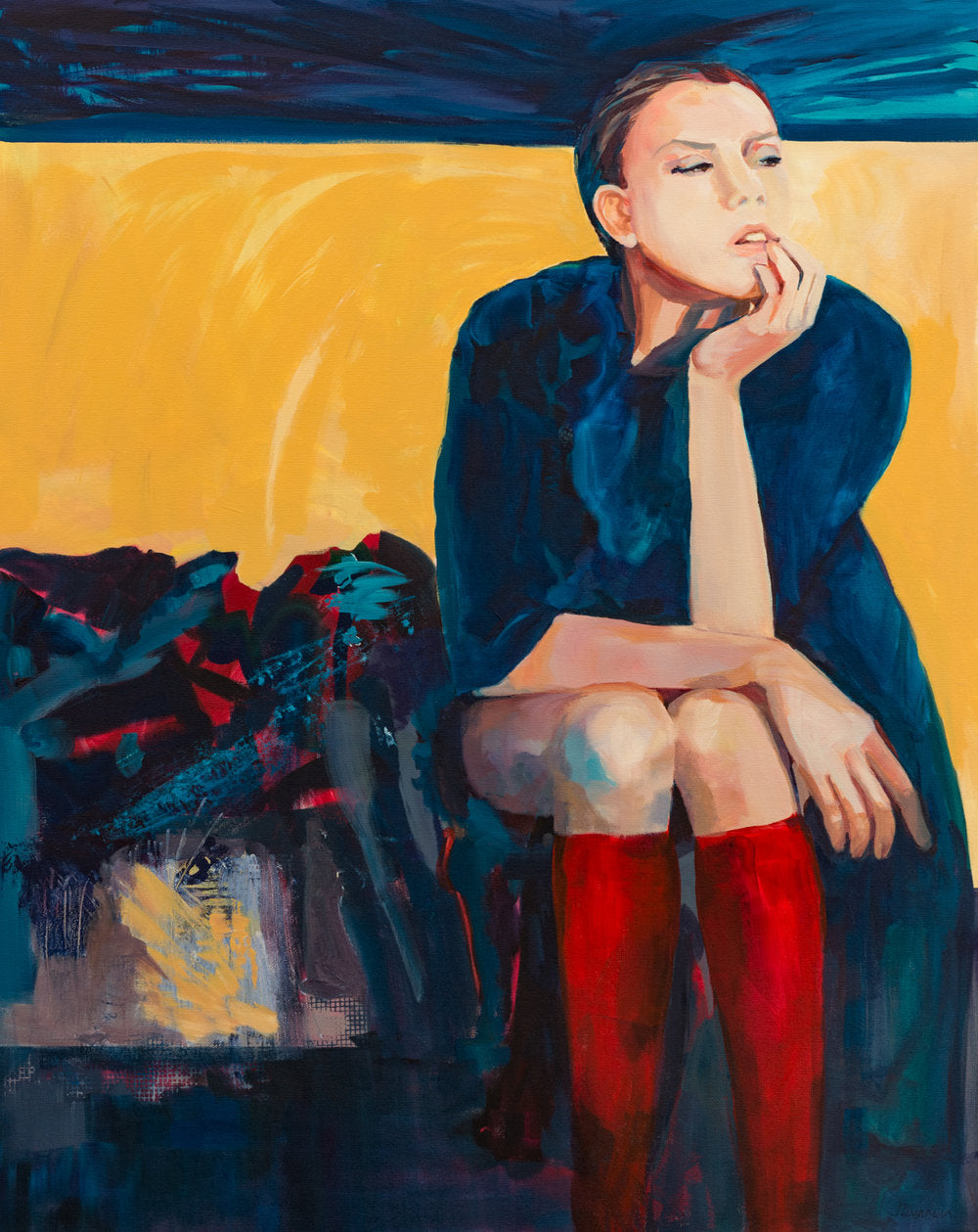 figurative art woman sitting pose red and blue and yellow