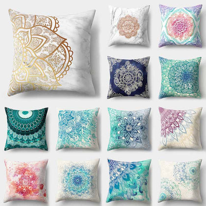Mandala Pattern Blue Polyester Throw Pillow Cover - 99andco