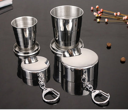 Stainless Steel Outdoor Travel Collapsible Cup With Keychain - 99andco