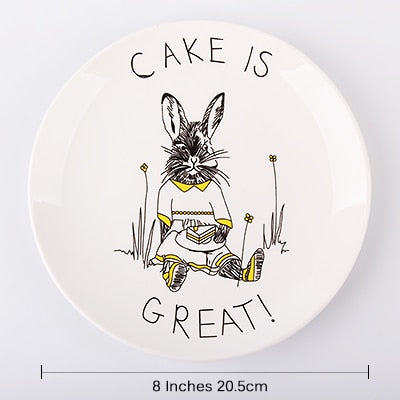 Animals Ceramic Cake Plate White Round