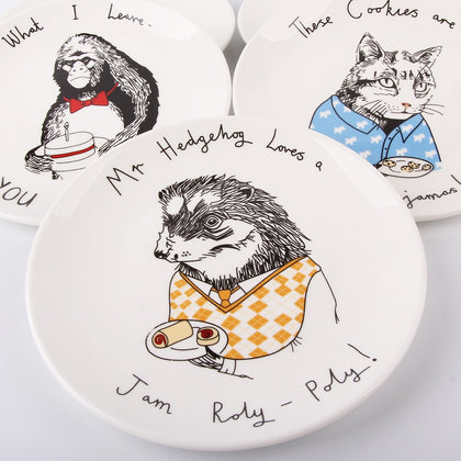 Animals Ceramic Cake Plate White Round - 99andco