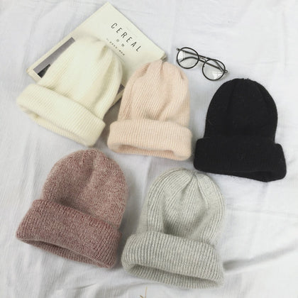 Autumn winter rabbit hair Winter skullies Hat fashion warm beanies hats casual women solid adult rabbit caps cover head - 99andco