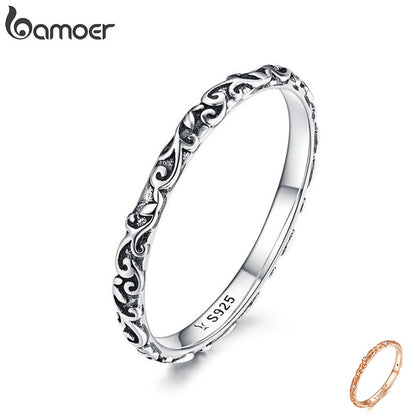 925 Sterling Silver Black Tibetan Silver Small Finger Rings Jewelry 99andco.myshopify.com