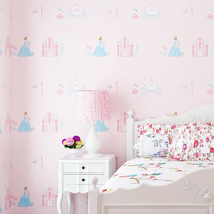 Blue Pink Princess Room Non-woven Wallpaper 3d - 99andco