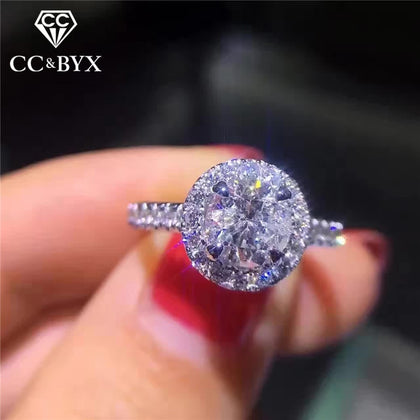 925 Silver Rings For Women Cubic Zircon Round Stone - 99andco