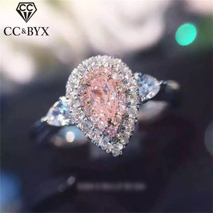 925 Silver Rings For Women Fashion Pink Water Drop Jewelry - 99andco
