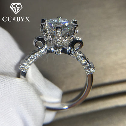 925 Silver Round Cubic Zircon Stone Ring - 99andco