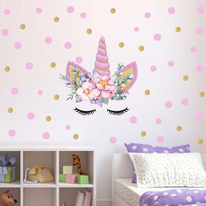 Cartoon Cute Unicorns Pink Gold Dot Wall Stickers - 99andco