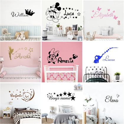 Cartoon Personalized Custom Name Mickey Mouse Wall Sticker - 99andco