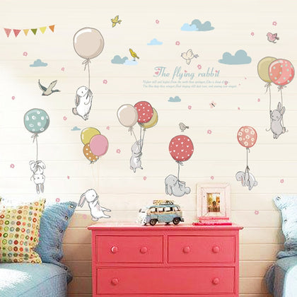 Cartoon diy super cute balloon rabbit wall sticker for kids room - 99andco