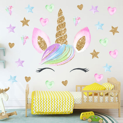 Colorful Flower Animal Unicorn Wall Sticker 3D Art - 99andco