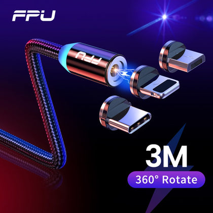 3m Magnetic Micro USB Cable For iPhone Samsung Android Mobile Phone Fast Charging USB Type C Cable Magnet Charger Wire Cord - 99andco