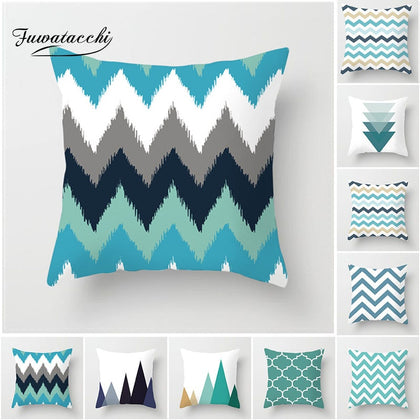 European Geometric Cushion Covers Blue - 99andco