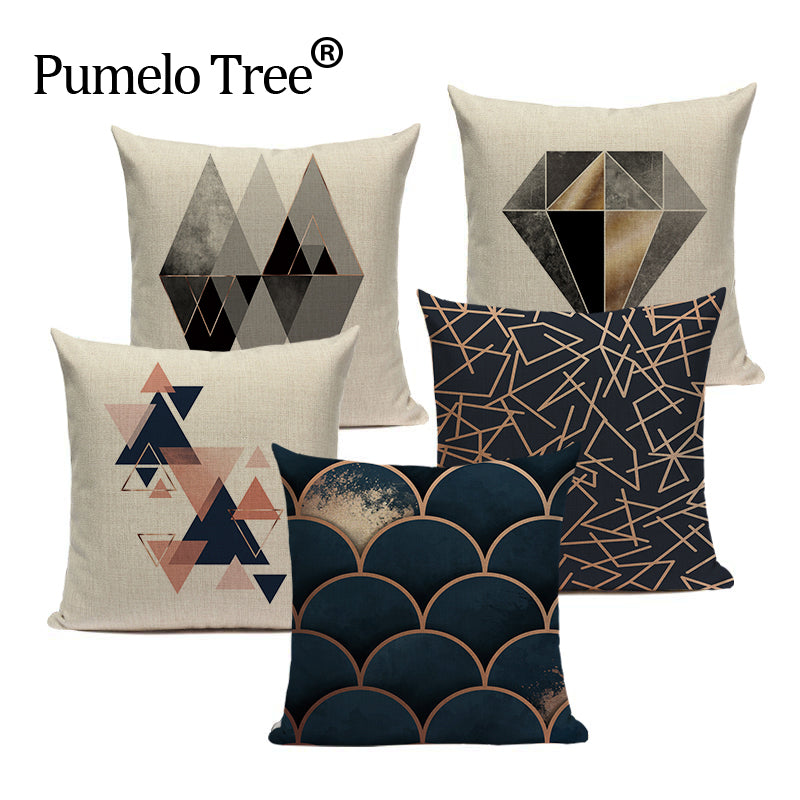 Geometric Black Cushion Cover