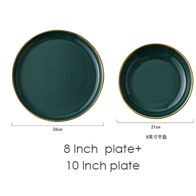 Green Ceramic Gold Inlay Plate set