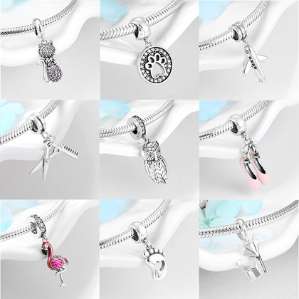 925 Sterling Silver Beautiful Owl Flamingo Charms pendants