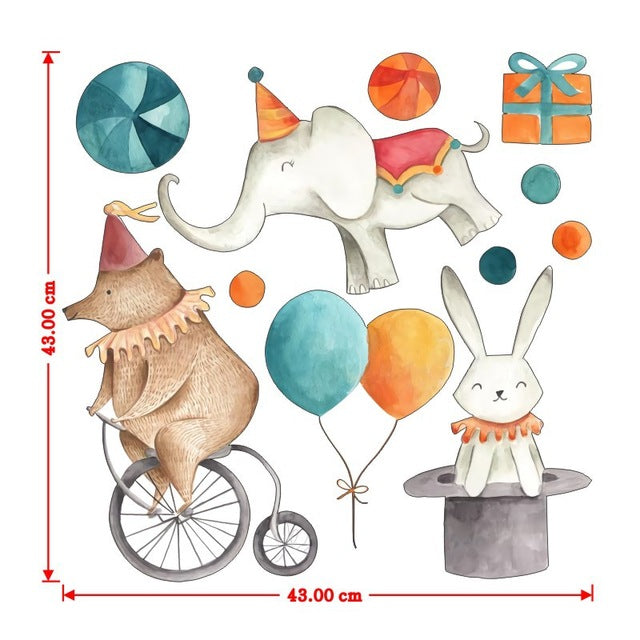 Watercolor Elephant Rabbit Wall Stickers Colorful