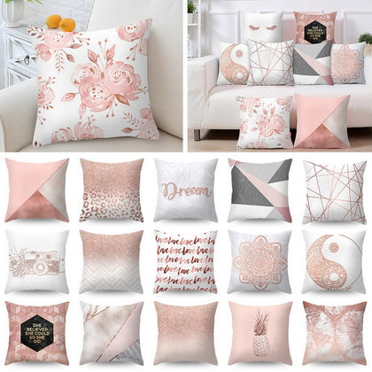 Pillow Case Rose Gold Geometric - 99andco